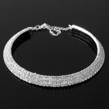 PEAPUG3 2013 Hot Luxury Bling Rhinestones Collar Necklace For Bride Women Fashion Summer Trendy Jewelry Chunky YMQ = 1930292868