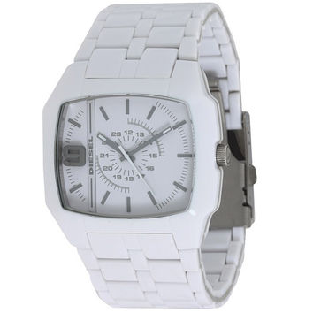 Diesel DZ1548 Men's Analog White Matte Dial Layered Acetate Bracelet Watch