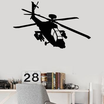 Vinyl Wall Decal Helicopter Military War Boys Room Stickers Unique Gift (ig4112)