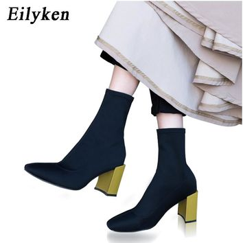 Eilyken Fashion Ankle Stretch Fabric Sock Boots Chunky High Heels Stretch Women Autumn Sexy Chelsea Boots Square Toe Women Pumps