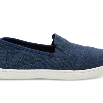 TOMS Navy Burlap Youth Avalon Sneakers Blue