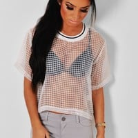 Malia White Sheer Grid Mesh Top | Pink Boutique