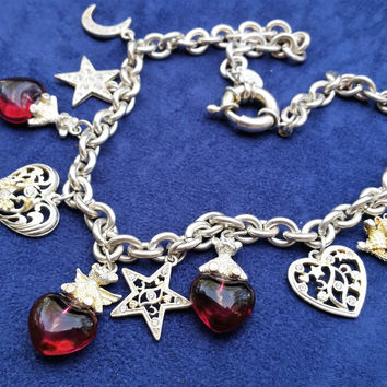 Retired Kirk's Folly angel teddy bear red glass heart stars and moon necklace