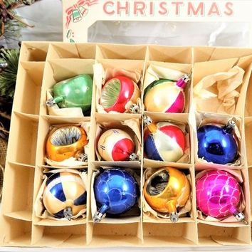 "Glass Christmas Ornaments, 11 Ornaments, 1 1/2"" to 2"", Made in Poland, Vintage Christmas Ornaments"