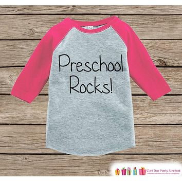 Pink Girls Preschool Rocks Tee - Back to School Outfit - Girls Pink Raglan Preschool Rocks Tshirt - Kids Preschool Shirt - Toddler Pink Top