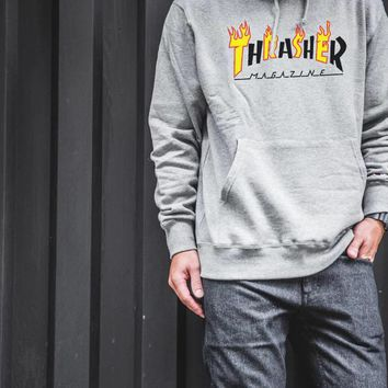HCXX 613 Thrasher FLAME MAG HOOD Hoodie Gray