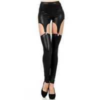 Onyx Black Garter Leggings