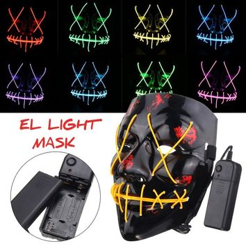 Halloween Mask EL Wire LED Funny Masks The Purge Election Year Great Festival Cosplay Costume Supplies Glow In Dark DJ Party Hot