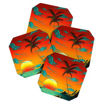 Madart Inc. Tropical Burn Coaster Set