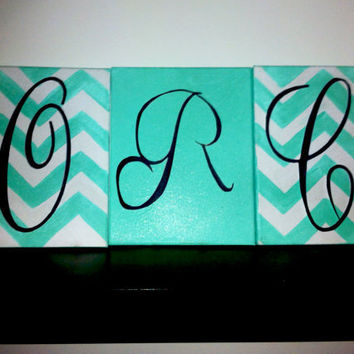 Chevron Canvas Initials