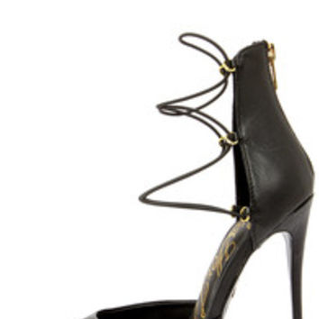 Lust for Life Kiss Me Black Leather High Heels