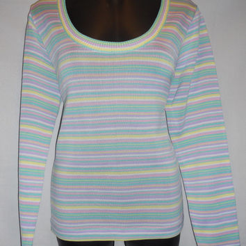 Vintage 80s Light Pastel Horizontal Stripes Long Sleeve Shirt Pink Purple Green Yellow Kawaii Cute Retro