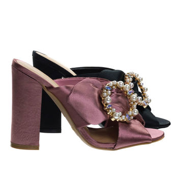 Encounter92 Mauve Pink By Bamboo, Satin Baroque Block Heel Mule Sandal w Embellished Crystal & Pearl