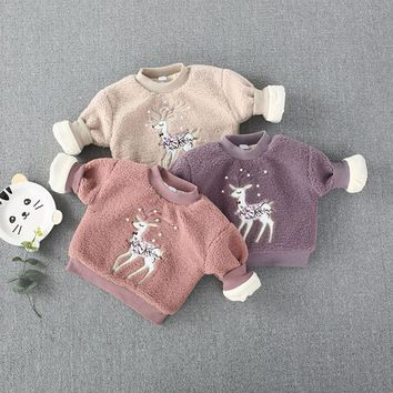 2018 Baby Knit Sweater Bibicola Children Winter Clothes Sweaters 18 Girls Fawn Nail Bead Plush Baby Qiu Dong Joker Brim Jumper