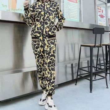 """""""VERASE"""" Woman Leisure Fashion Personality Printing Zipper Spell Color  Long Sleeve Trousers Two-Piece Set Casual Wear"""