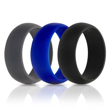 Mens Silicone Wedding Ring Wedding Band - 3 Rings Pack - 8.7mm Wide (2mm Thick) With Free Gift