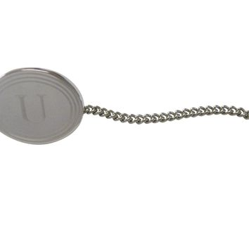 Silver Toned Etched Oval Letter U Monogram Tie Tack