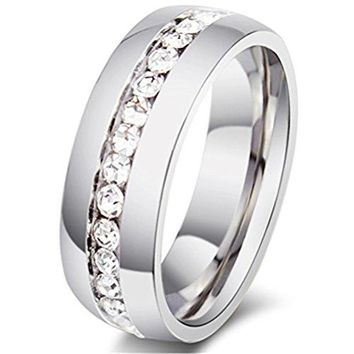 6mm Silver Titanium Stainless Steel Wedding Ring Channel Set Cubic Zirconia Engagement Band