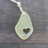 Sunshine Yellow Sea Glass Carved Heart Summer Sun Beach Boho Fashion Necklace by Wave of Life
