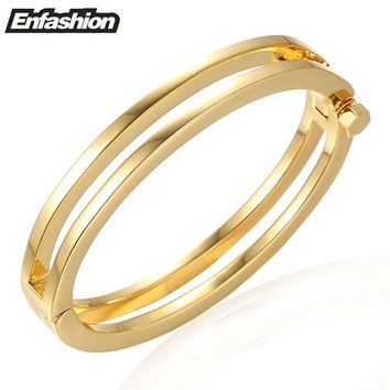 Enfashion 2 Rows Screw Bracelet Noeud armband Gold color Bangle Bracelet For Women Cuff Bracelets Manchette Bangles Pulseiras