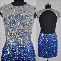 2014 White and Road Blue Crew Crystals Backless Sheath Short Mini Tulle Evening Prom Dress