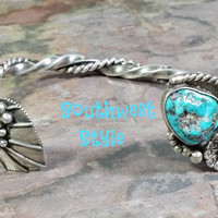 Vintage Southwest Southwestern Style Cuff Bracelet Turquoise Sterling Silver Twisted w/ Peyote Flower Unusual Unique Design Native American