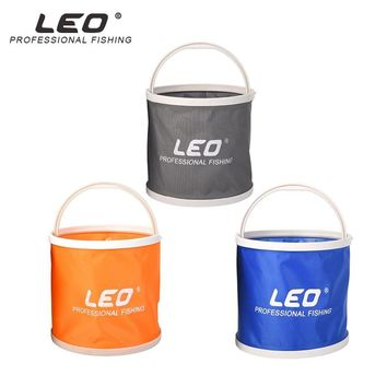 LEO Round Canvas Bucket 20x19cm Portable Foldable Bag With Storage Hand Bag Outdoor Camping Hiking Fishing Water Barrel Tackle