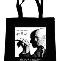 Aleister Crowley on Black Tote Book Bag Occult Witchcraft Handbag
