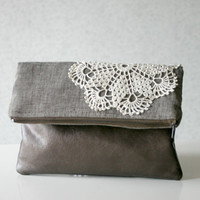 Linen Leather and Lace Foldover Clutch Purse Metallic Bronze Vegan