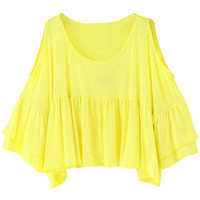 Yellow Cutout Shoulder Ruffled Tee
