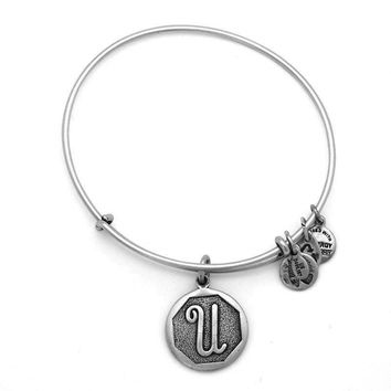 Alex and Ani Initial U Charm Bangle Bracelet - Rafaelian Silver Finish