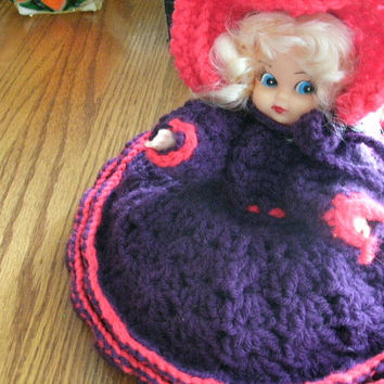 Vintage Handmade Fashionable Lady Tissue Topper or Something With Crocheted Dress