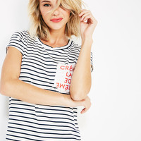 Créme De La Créme Striped Pocket Tee | Wet Seal