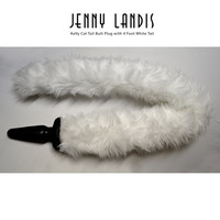 "JENNY LANDIS ""Kelly"" 4 foot White Cat Tail Butt Plug - perfect for cosplay, kitten play, halloween, costumes"