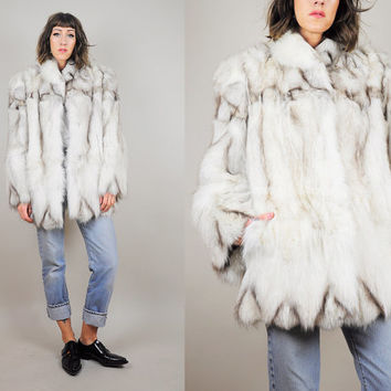 Chevron vtg 70's Arctic FOX FUR COAT shaggy 80's Plush white chubby striped Pelt Glam Medium / Large
