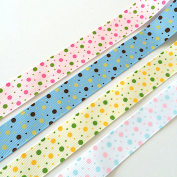 "1 yard 7/8"" polka dot grosgrain ribbon,grosgrain ribbon,polka dot ribbon,embellishment,gift wrapping,card making,hair bows,scrapbooking."