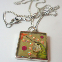 Crystal Hummingbird Resin Necklace in Silver Square Bezel, OOAK