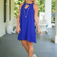 Cut Out For Class Dress, Royal Blue