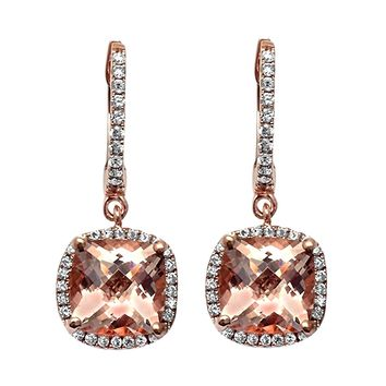 2.97tcw Cushion Morganite with Diamonds in 14K Rose Gold Dangle Drop Earrings
