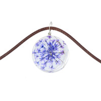 Women Floral Art Summer Jewerly Short Strip Leather Chain Natural Lavender Flower Crystal Glass Ball Pendant Choker Necklace