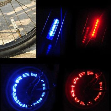 Hot Sale Waterproof Bike Bicycle Wheel Tyre Valve Caps 7 LED Letter Flashing Light Outdoor Night Cycling Safety Accessories