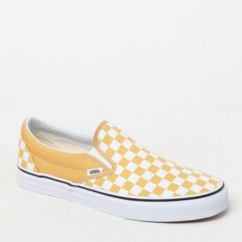 DCCKYB5 Vans Classic Checkerboard Gold and White Slip-On Shoes