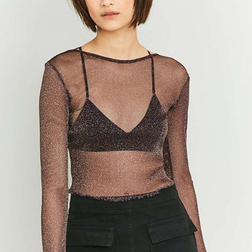 Sparkle & Fade Lurex Lettuce Edge Crop Top - Urban Outfitters