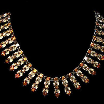 "Orange Topaz Bib Necklace Aurora Borealis Rhinestones Gold Leaf Design 16 1/2"" Vintage"