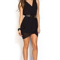 Tianna Black V Neck Sleeveless Draped Short Chiffon Dress