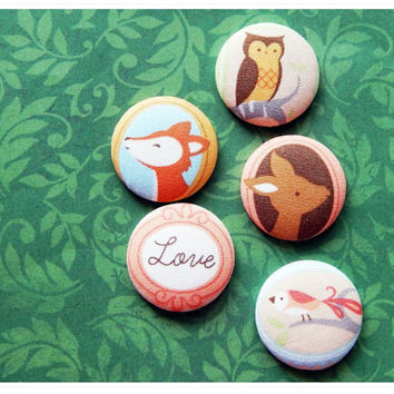 Woodland Whimsical Forest Fabric Button Fridge Magnets (Baby Animals Owl Deer Fox Bird) LOVE