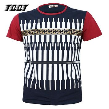Tees O-Neck Tees Sleeves T-Shirts Print T Shirt Men Striped Male Shirts Piano Pattern Men'S Shirts