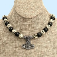 Raven Skane Thor's Hammer On Chain Necklace With Obsidian and Dalmation Jasper Beads