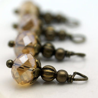 Smokey Topaz Crystal Rondelle and Brass Bead Dangle Charm Drop Set