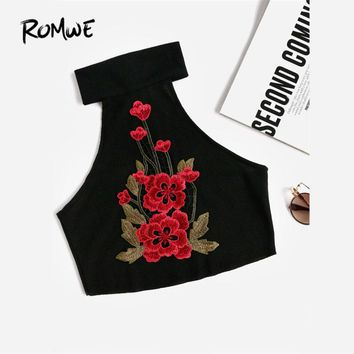 Ribbed Crop Halter Top Embroidered Applique Woman Sleeveless Top New Arrival Black Slim Fit Cotton Tank